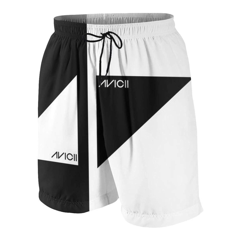 ビーチパンツ ブラックとホワイト アヴィーチー ロゴ 短パン 水着 男の子 サーフパンツ 青少年 速乾 薄い 夏 スポーツ