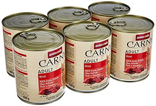 animonda Carny Adult cibo per gatti, alimento umido per gatti adulti, manzo, 6 x 800 g