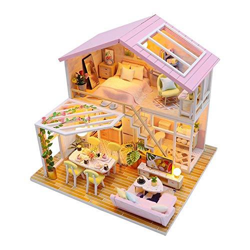 Fsolis Miniatura de la casa de muñecas con Muebles, Equipo de casa de muñecas de Madera 3D, más Resistente al Polvo y el Movimiento de música Regalo Creativo M2001