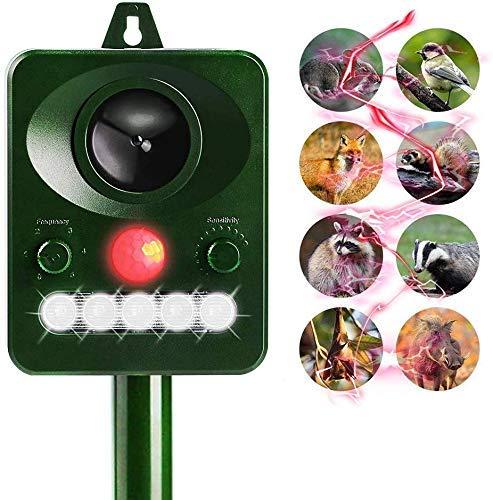 Schutd Dierlijke, op zonne-energie werkende waterdicht buitenshuis met ultrasone geluid, bewegingssensor en knipperlicht voor katten, honden, eekhoorns, mollen, ratten, die pesticiden afweren, groene USB