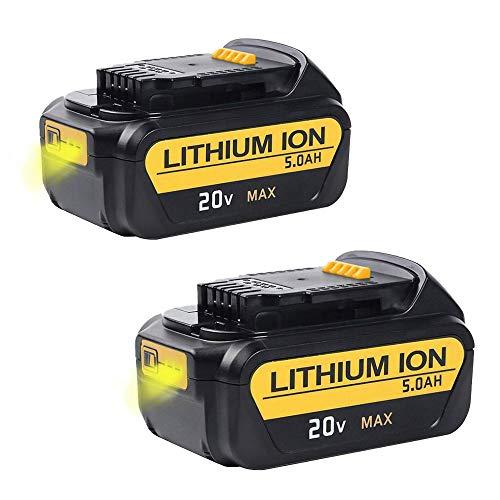 2X FUNMALL 20V 18V 5000mAh Li-Ion DCB200 vervangende accu voor Dewalt DCB180, DCB181, DCB182, DCB200, DCB201, DCB201-2, DCB200-2, DCB204-2, DCB205-2 compatibel met voor DEWALT 20V Max elektrisch gereedschap