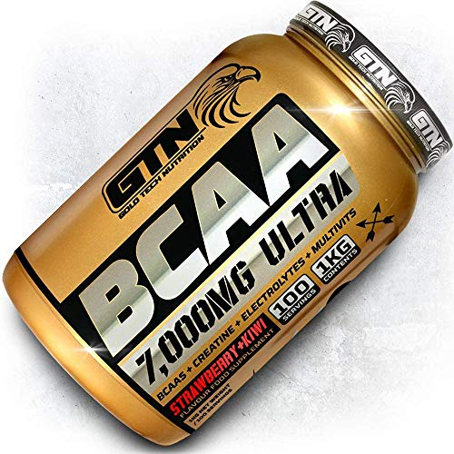 Gold Tech Nutrition Gold Standard BCAA 100 Servings, 7000mg Per Serving | Branch Chain Amino Acids with Mutlivitamin Blend and Electrolytes Matrix. BCAA Powder by GTN (Strawberry + Kiwi)