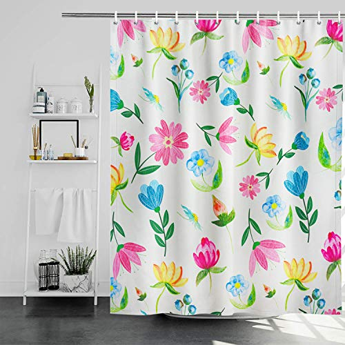 Maccyafst Duschvorhang mit Blumendesign, Boho-Stil, Blumenmuster, bunter Frühlingspflanzen, botanischer Badvorhang, Aquarellfarben, hellgelb, Duschvorhang-Sets mit Haken