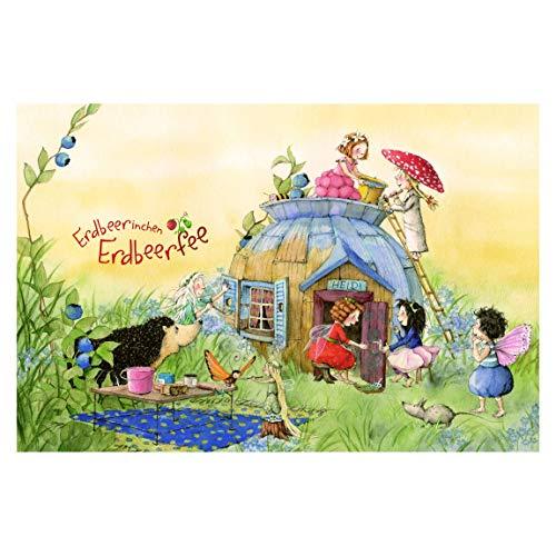Bilderwelten Kinderzimmer Tapeten - Vliestapeten Premium - Erdbeerinchen Erdbeerfee - Bei Heidi - Fototapete Breit Vlies Tapete Wandtapete Wandbild Foto 3D Fototapete, Größe HxB: 320cm x 480cm