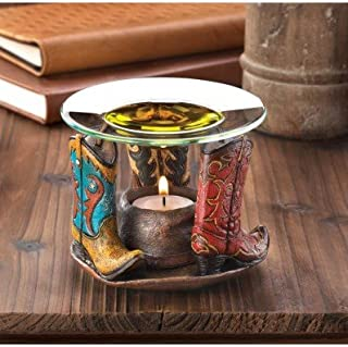 Home Fragrance Cowboy Boots Oil Warmer Cow Boy Western Tealight Candle Candles Light