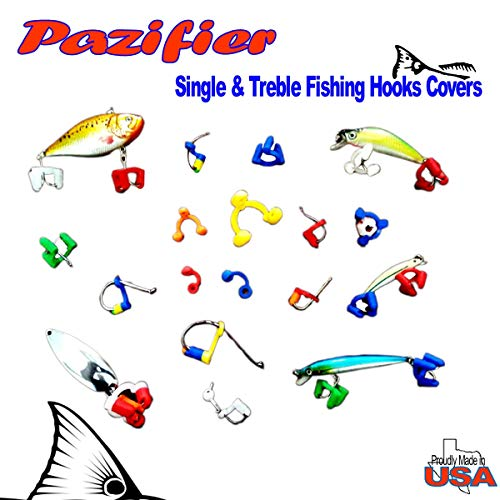 Pazifier Fishing Hooks Safety Caps Covers Guards Bonnets (Saltwater Treble (15ea) & Single (25ea) Hooks Covers)