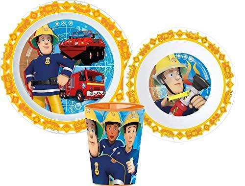 Little Flight Sam Il Bombere - Juego de comida escolar con plato y vaso de plástico rígido para microondas Sam El bombero (1 plato, 1 taza, 1 cuenco)