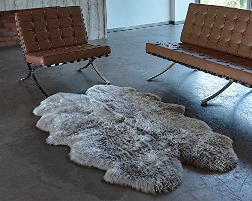 WaySoft Genuine New Zealand Sheepskin Rug, Luxuxry Fur Rug for Bedroom, Fluffy Rug for Living Room (4ft x 6ft, Grey)