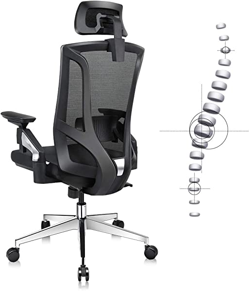 Ergonomic Office Desk Chair High Back Mesh Desk Chair With 4D Adjustable Arm Rests Computer Chair Height Adjustable And Head Support 3 Adjustable Tilt Tension Black