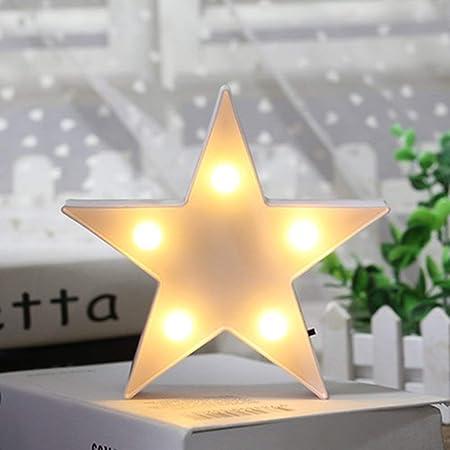 Stella a LED in Plastica, Lampada per Asilo Nido, Decorazioni Murali per Camera dei Bambini, Camera da Letto, Regali, Feste di Natale, Giardino, Decorazioni per La Casa (bianco)