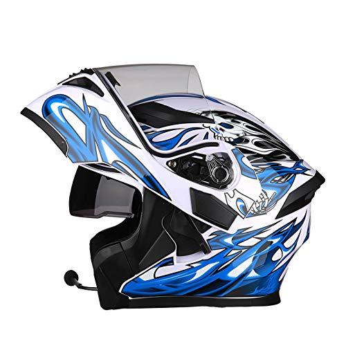 SJAPEX Bluetooth Integrado Casco de Moto Modular con Doble Visera Cascos de Motocicleta ECE Homologado a Prueba de Viento para Adultos Hombres Mujeres B,M=54~57cm