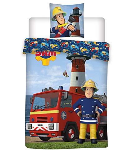 Wende Bettwäsche Feuerwehrmann Sam, 100 x 135 cm + 60 x 40 cm, 100% Baumwolle