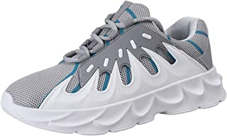 AUCDK Men Fashion Trainers Breathable Microfiber Uppers Low Top Chunky Sneakers with Non Slip Sole for Athletic Training