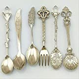 YLYMD 6 Pcs Royal Antique Tableware Cutlery Set European Style Vintage Pomegranate Flower Carved Coffee Tea Scoop Palace Style