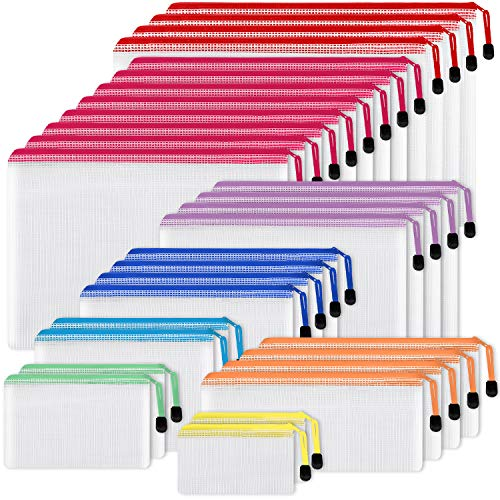 EOOUT 30pcs Mesh Zipper Pouch Document Bag 8 Assorted Size 8 Colors Waterproof Plastic Zip File Folders Multipurpose for School Supplies Office Appliances Home Travel Storage