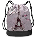 OKIJH Sac à dos Sac à dos de loisirs Sac à cordon Sac à dos multifonctionnel Sac de sport Drawstring Bag Organizer France Hand Drawn Romantic Eiffel Tower Gym Drawstring Bags Backpack Sports String Bu
