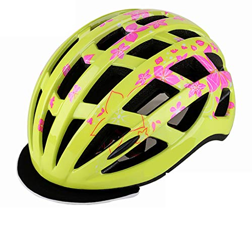 HONGLONG Casque de vélo de la Jeunesse, Soufflerie Design, réglable Circonférence de la tête, Convient pour la Ville, Route, électrique, randonnée pédestre,Jaune