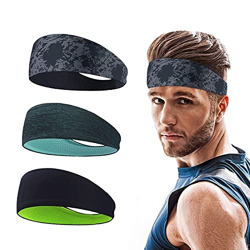 Roysmart Sport Stirnbänder für Herren und Damen, Schweißband Cooling Stretchy Breathable Anti Rutsch für Fitness, Laufen, Wandern,Basketball, Fußball - 3 Pack