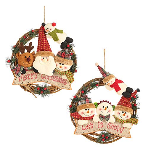 FZ FUTURE Christmas Wreaths for Front Door, Small Grapevine Wreath Indoor Winter Holiday Wreaths Front Door Christmas Decoration (Reindeer Snowman Santa Claus),mixed,2pcs
