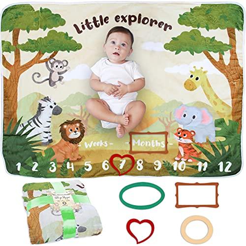 Baby Milstolpe Filt | Fotomatta Nyfödd Pojke eller Flicka, Unisex | Baby Shower Gåva | Safari & Jungeltema | Mjuk & Tjock | Filt med Månatliga Bilder | Följ Ålder & Växt