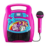 eKids JoJo Siwa Bluetooth Portable MP3 Karaoke Machine Player Light Show Store Hours of Music Built in Memory Sing Along Using Real Working Microphone USB Port Expand Content