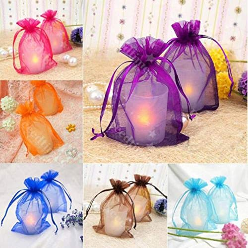 ALENAOO 25pcs Wedding Favor Sheer Gift Bags Schmuckverpackung Organza Pouch Geschenktüte, Sky Blue, 10x15cm