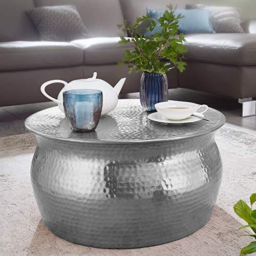 Tavolino Aram 60x30,5x60cm Alluminio Argento tavolino Orientale Rotondo. Tavolino da caffè martellato Piatto. Tavolo da Salotto Design Moderno. Tavolino Indiano da Salotto Color Argento