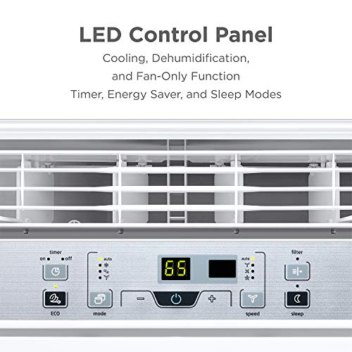 MIDEA EasyCool Window Air Conditioner - Cooling, Dehumidifier, Fan with remote control - 8,000 BTU, Rooms up to 350 Sq. Ft. (MAW08R1BWT Model)