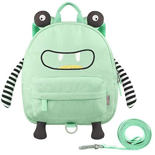 GAGAKU Mini Kinderrucksack mit Brustgurt 3D Tier Cartoon Kinder Rucksack für Mädchen und Jungen - Grün
