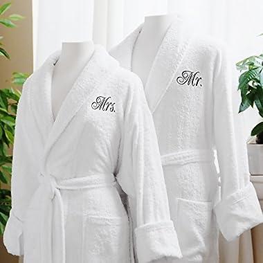 Caravalli Egyptian Cotton Bath Robes, Terry Spa Robe Gift Box Mr/Mrs Embroidery
