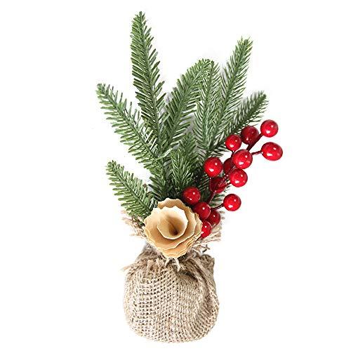 Xshuai® Mini arbre de Noël bâton Cèdre Blanc Bureau Petit arbre de Noël Vacances Cadeau pour fête de mariage Décoration de Noël, W X H : 15cm X 26cm, The height:26/24/30cm