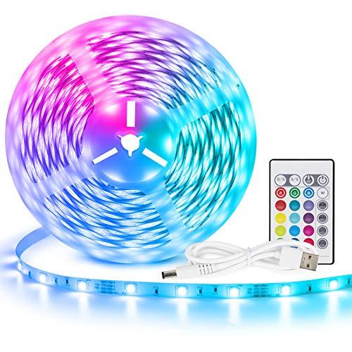 LED Strip 2m USB LED Streifen, Tasmor RGB LED TV Hintergrundbeleuchtung LED Band 16 Farben und 4 Modi, Led Beleuchtung mit Fernbedienung LED Lichtkette Sync mit Musik Lichtband für 40 bis 60 Zoll TV