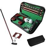 Graceru Juego de minigolf de golf portátil para interior con pelota y bolsa de PVC, putter de aluminio y portería de madera, set de regalo (negro)