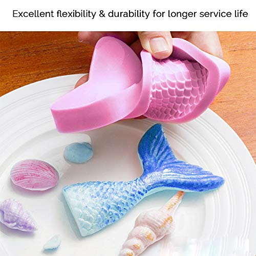 Kabi Mermaid Tail Mold Silicone Seashell Candy Molds for Chocolate Fondant Cake Decoration(4Pack)