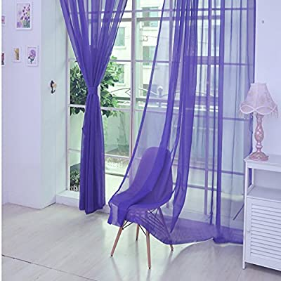 Amazon - Save 80%: 1 PCS Pure Color Tulle Door Window Curtain Drape Panel Sheer Scarf Valanc…