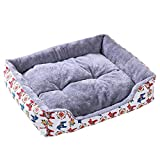 Panier Chien avec Coussin, Ultra Doux Niche Carré Rembourré Coussin Chien Confortable Respirant Chenil Maison Lit Canapé pour Chien Chat Lapin Animal de Compagnie,Cartoon Grey,65*55*13CM(Pet
