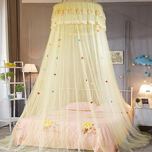 WWWL Baldachim na łóżko uniwersalny dziecięcy elegancki tiulowy łóżko kopuła siatka na łóżko baldachim okrągły różowy okrągły kopuła pościel moskitiera dla Twin Queen King Yellow