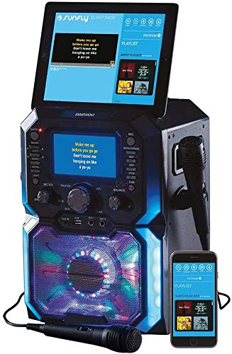Daewoo AVS1302 Bluetooth Portable Karaoke Machine with 2 Wired Microphones,...