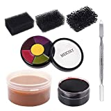 MEICOLY Moulding Scar Wax Special Effects Halloween Set Body Paint Fake Wound Makeup Skin Wax,6 Color Bruise Wheel, Spatula, Black Stipple Sponge,Coagulated Blood Gel,01