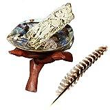 Carcasa de abulón pulida con trípode de madera natural y 2 varillas de salvia blanca California,...