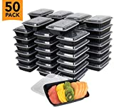 50-Pack Meal prep plastic microwavable food containers for meal prepping With Lids 28 oz. 1 Compartment Black...
