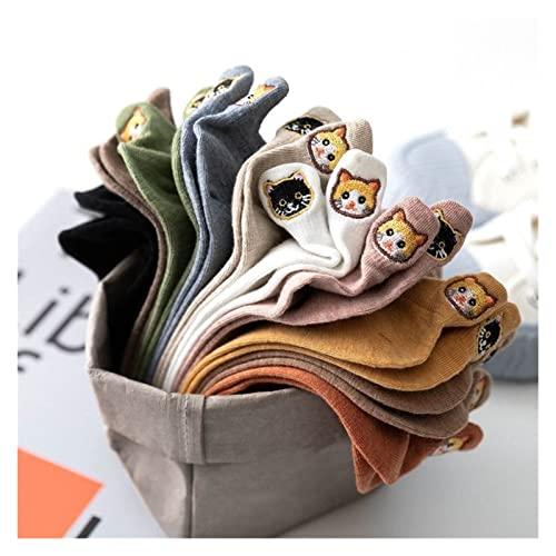 Decorel 5 Pares Pack Kawaii Calcetines Mujeres Feliz Tobillo Divertido Dibujos Animados Bordado Harajuku Accesorios Corto algodón Lote Patas Garra Garra (Color : 10, Size : One Size)