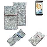 K-S-Trade® Handy Schutz Hülle Für Alcatel A30 Plus Schutzhülle Handyhülle Filztasche Pouch Tasche Hülle Sleeve Filzhülle Hellgrau Roter Rand
