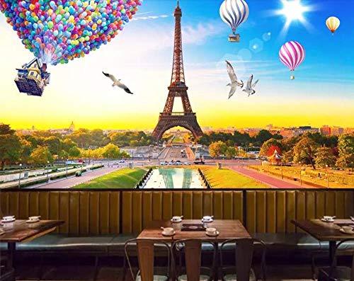 muur muurschildering hete lucht ballon toren behang foto niet-geweven reus muur poster woonkamer modern decor kunst - mix voyeur Geslacht 450CMx300CM