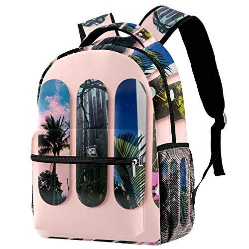 TIZORAX Rucksack, verschiedene Designs, Skateboard, Schultasche, Rucksack, Reisen, lässiger Tagesrucksack für Damen, Teenager, Mädchen, Jungen