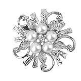 Broche de Flor Perlas de Imitación Joyas Regalo para Mujer Novia Boda - Plata