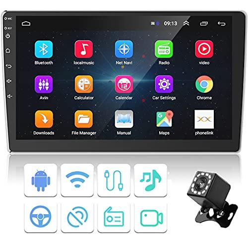 Podofo Autoradio Android Bluetooth 2 Din Car Stereo Auto 10.1 Pollici con 1080p HD Schermo,con Telecamera Posteriore Internet Wifi GPS Navigation Supporto FM/BT/USB/MP5 Lettore per Auto