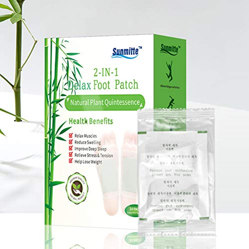 Yeky 2 In 1 Organic Ginger Bamboo Foot Pads, Rapid Relieve Stress and Pain Results Body Detox Foot Patch, Natural Cleansing Foot Pads for Foot Care (B)
