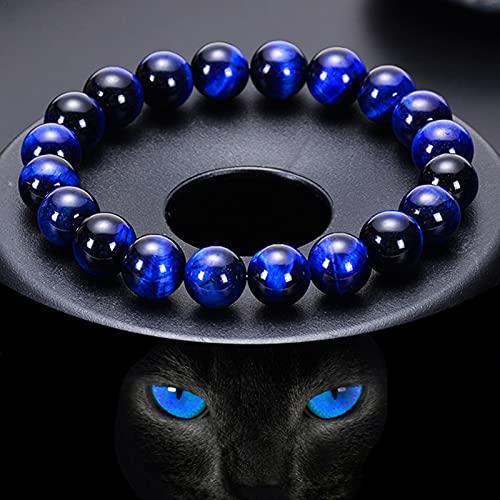 Feng Shui Tigers Eye Bracelet, Good Luck Gemstone Bracelet, Natural Tiger Eye Stone, Attract Wealth and Ward Off Evil Spirits (12mm)
