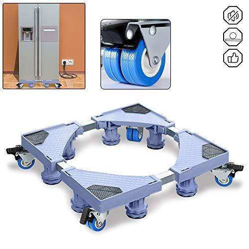 UISEBRT Einstellbare Waschmaschinen Untergestell Sockel - Podeste & Rahmen für Waschmaschine, Trockner, Kühlschrank und Gefrierschrank (8 Füße und 4 Räder)